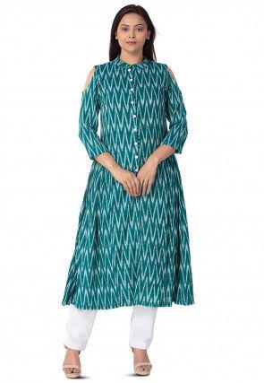 Ikat Woven Cotton A Line Kurta Set in Teal Green