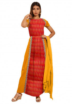 Ikat Woven Cotton Abaya Style Suit in Red and Mustard