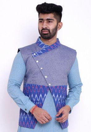 Ikat Woven Cotton Asymmetric Nehru Jacket in Blue