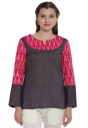 Ikat Woven Cotton Asymmetric Top in Dark Grey and Fuchsia