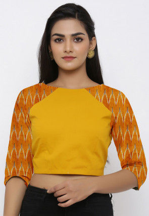 Ikat Woven Cotton Blouse in Yellow and Mustard
