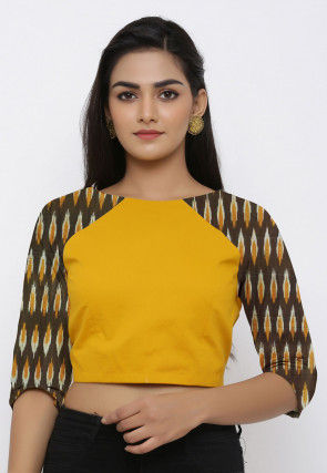 Ikat Woven Cotton Blouse in Yellow and Olive Green