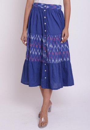Ikat woven Cotton Front Open Skirt in Blue