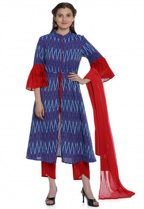 Ikat Woven Cotton Front Slit A Line Suit in Royal Blue