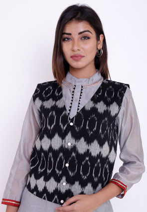 Ikat Woven Cotton Jacket in Black and Grey