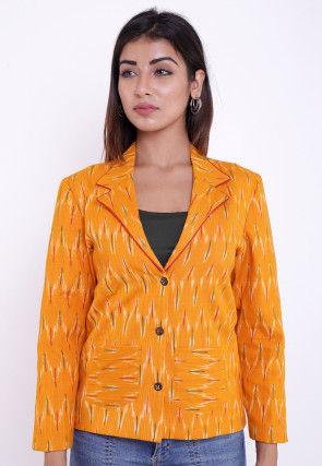 Ikat Woven Cotton Jacket in Mustard