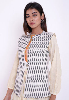 Ikat Woven Cotton Jacket in Off White