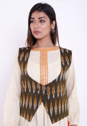 Ikat Woven Cotton Jacket in Olive Green