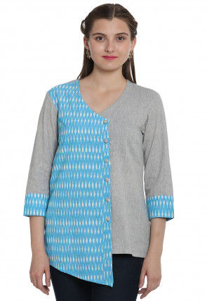 Ikat Woven Cotton Linen Top in Turquoise and Grey