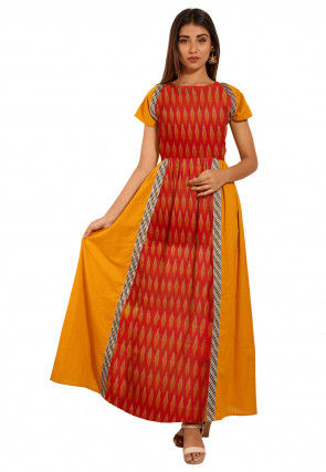 Ikat Woven Cotton Long Kurta in Red and Mustard