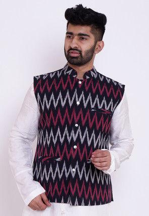 Ikat Woven Cotton Nehru Jacket in Black