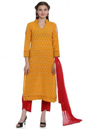 Ikat Woven Cotton Pakistani Suit in Mustard
