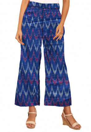 Ikat Woven Cotton Palazzo in Dark Blue