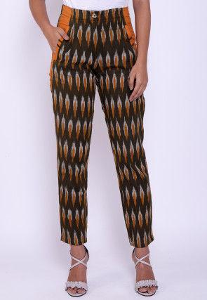 Ikat Woven Cotton Pant in Dark Brown
