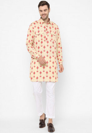 Ikat Woven Cotton Pathani Kurta Set in Beige