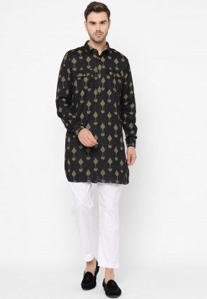Ikat Woven Cotton Pathani Kurta Set in Black