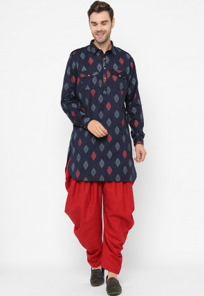 Ikat Woven Cotton Pathani Kurta Set in Navy Blue
