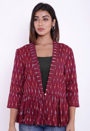 Ikat Woven Cotton Peplum Style Jacket in Wine