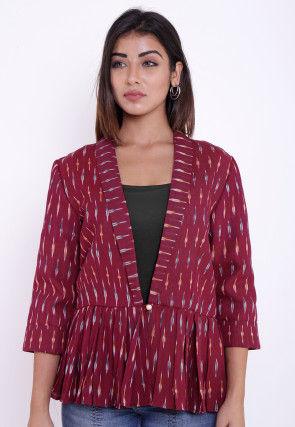 Ikat Woven Cotton Peplum Style Jacket in Wine
