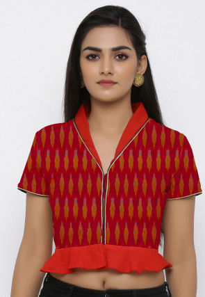 Ikat Woven Cotton Ruffled Blouse in Red