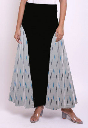 Ikat Woven Cotton Skirt in Black and Off White