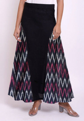 Ikat Woven Cotton Skirt in Black