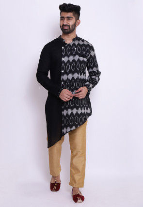Ikat Woven Cotton Slub Asymmetric Kurta in Black