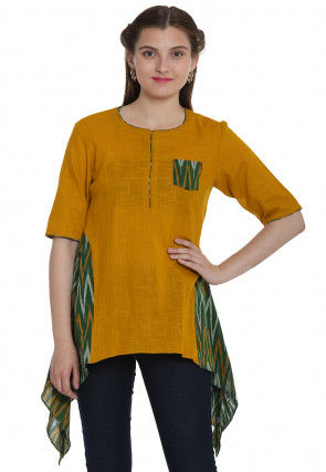 Ikat Woven Cotton Slub Asymmetric Top in Mustard and Green