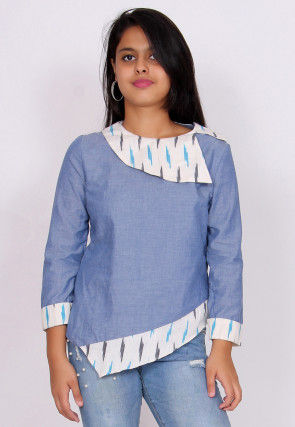 Ikat Woven Cotton Top in Sky Blue