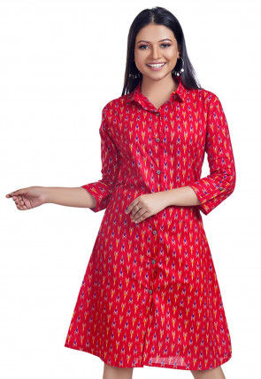 Ikat Woven Cotton Tunic in Red