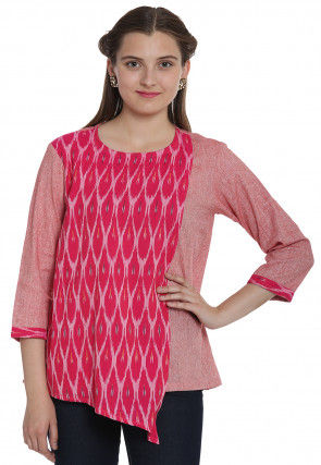Ikat Woven Cotton Linen Top in Peach and Fuchsia
