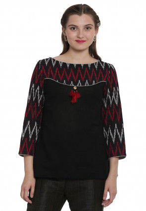 Ikat Woven Cotton Top in Black