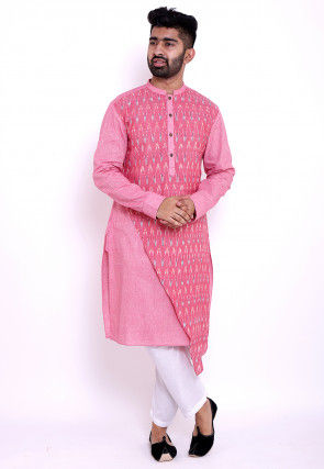 Ikat Woven Linen and Cotton Asymmetric Kurta in Pink