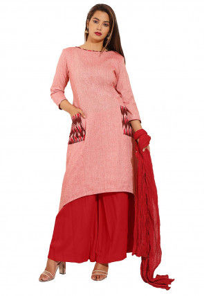 Ikat Woven Linen Cotton Pakistani Suit in Pink