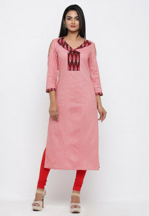 Ikat woven Linen Cotton Straight Kurta in Pink
