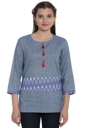 Ikat Woven Linen Cotton Top in Grey