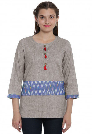 Ikat Woven Linen Cotton Top in Light Grey