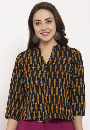 Ikat Woven Pure Cotton Top in Black