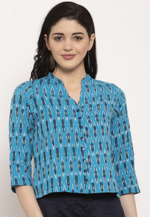 Ikat Woven Pure Cotton Top in Blue