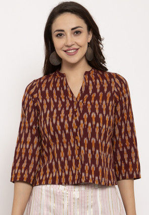 Ikat Woven Pure Cotton Top in Maroon