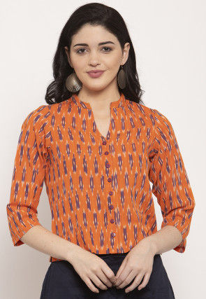 Ikat Woven Pure Cotton Top in Orange