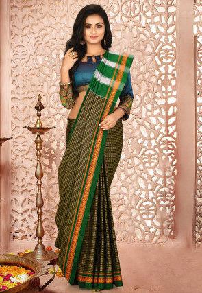 Ilkal Kasuti Cotton Silk Saree in Green