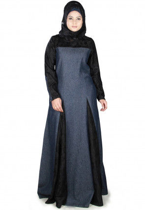 Inverted Pleat Denim Cotton Pleated Abaya in Blue and Black