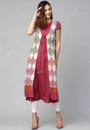 Jacket Style Printed Cotton Kurta in Old Rose