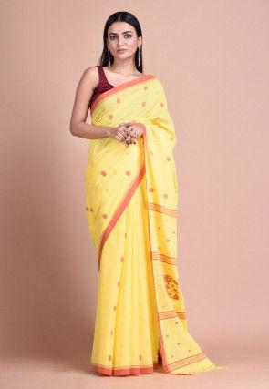 Jamdani Cotton Saree in Yellow