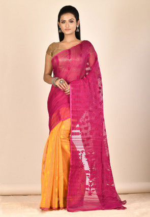 Jamdani Cotton Silk Half N Half Saree in Fuchsia and Mustard