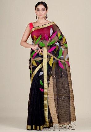 Jamdani Cotton Silk Handloom Saree in Black