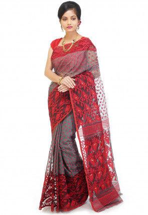 Jamdani Cotton Silk Saree in Grey and Red