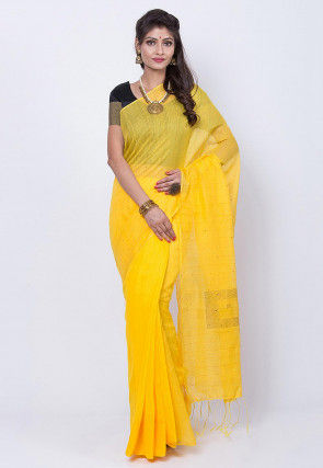 Jamdani Cotton Silk Saree in Yellow