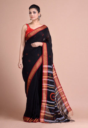 Jamdani Linen Saree in Black